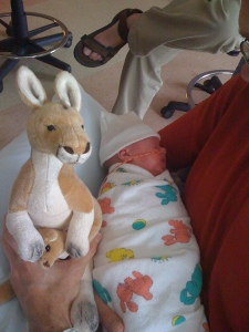 Natasha with guardian kangaroo