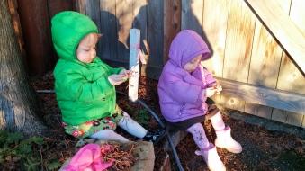 Girls playing dirt Jan 2015